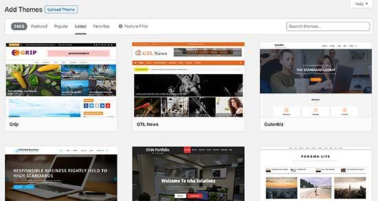 Chọn giao diện WordPress có sẵn từ thư viện mẫu
