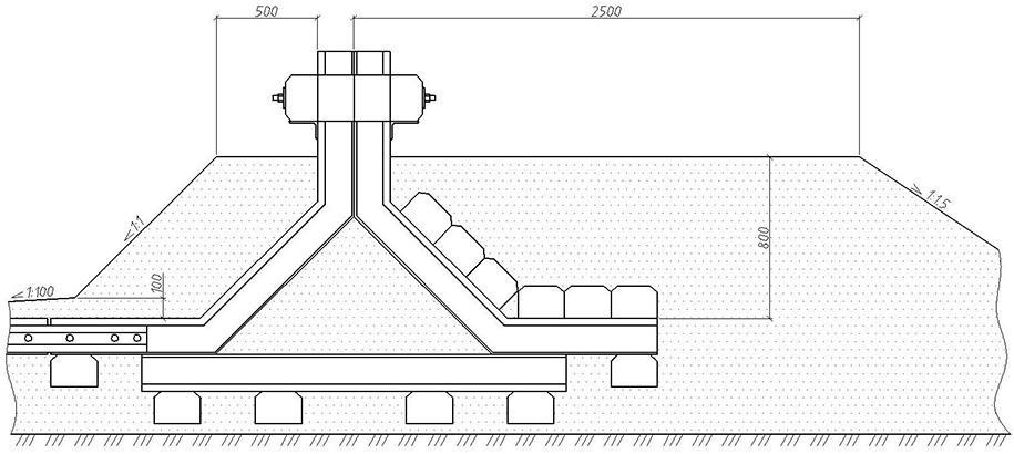 Железнодорожный тупиковый путевой рельсовый упор по чертежу в комплекте со знаком