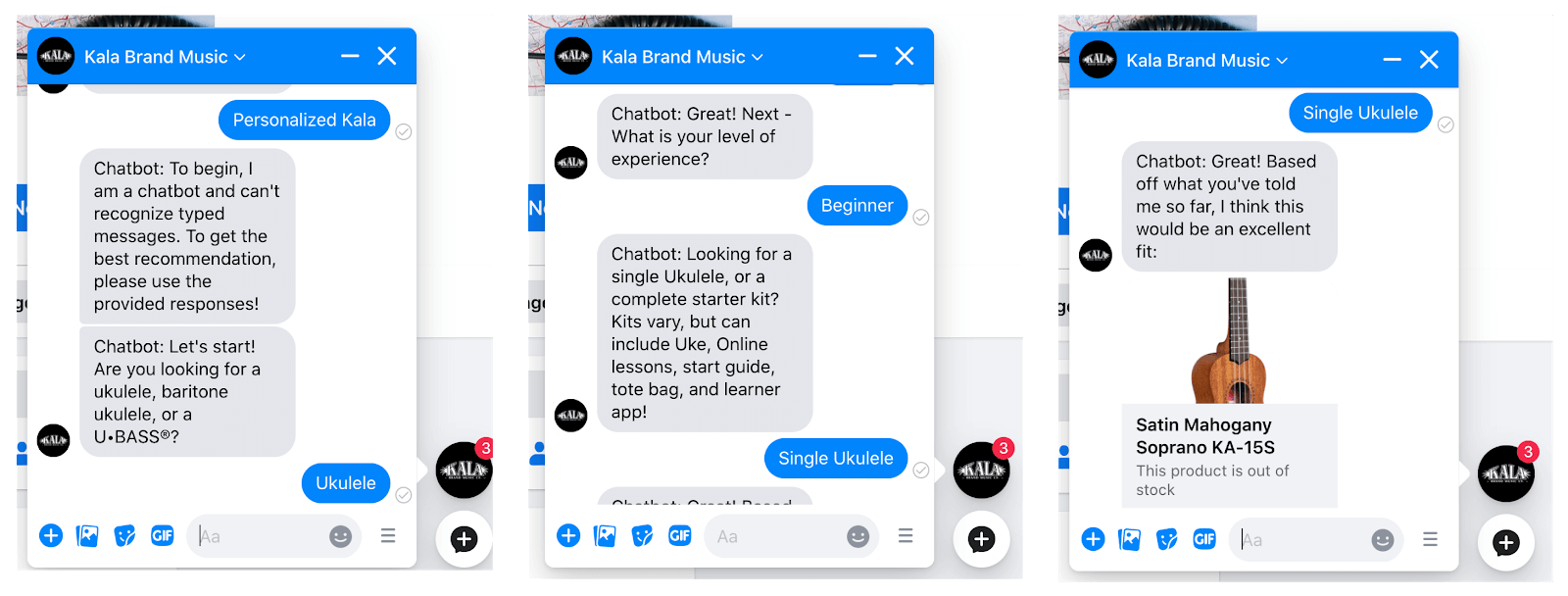Screenshot of Kala Brand Music's Product Recommender in Messenger
