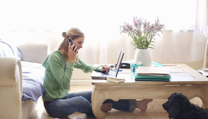 Woman working from home making sales meeting