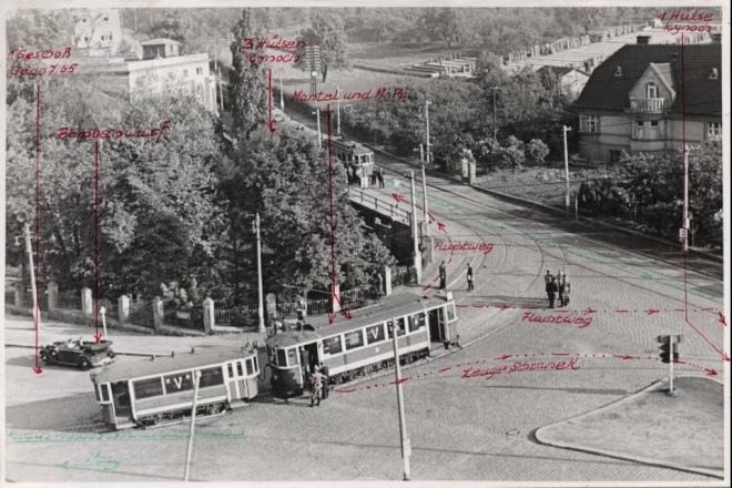 Перехрестя, на якому відбувся атентат, реконструкція події. Фото з документації гестапо