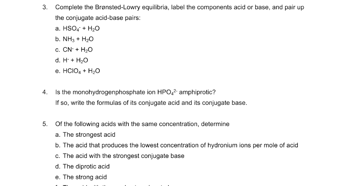 HL Acids Worksheet Google Docs – Conjugate Acid Base Pairs Worksheet