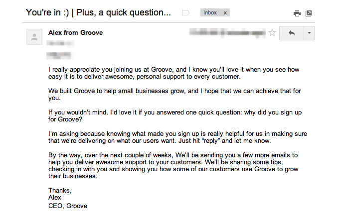 Groove free trial email follow up.