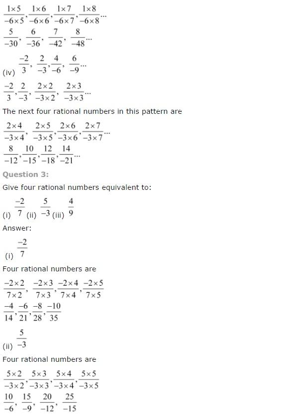NCERT solution for class 7 Maths Rational Numbers Exercise 9 1