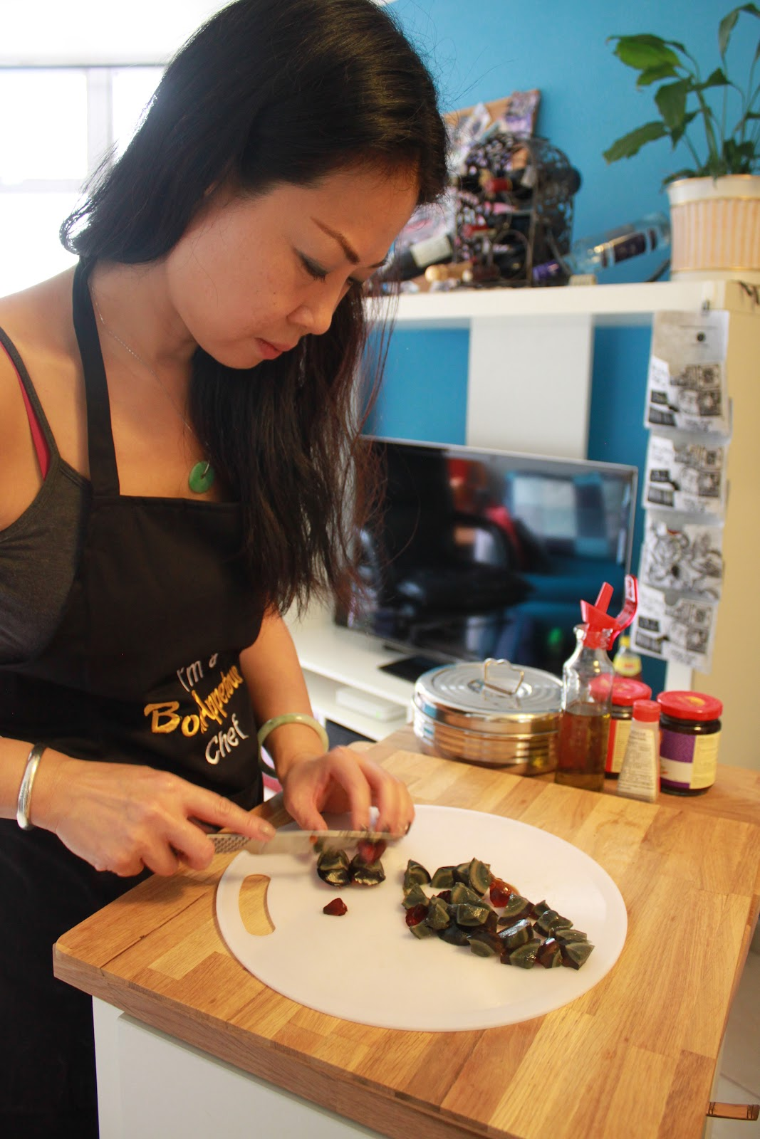 Edith chopping up some century egg goodness