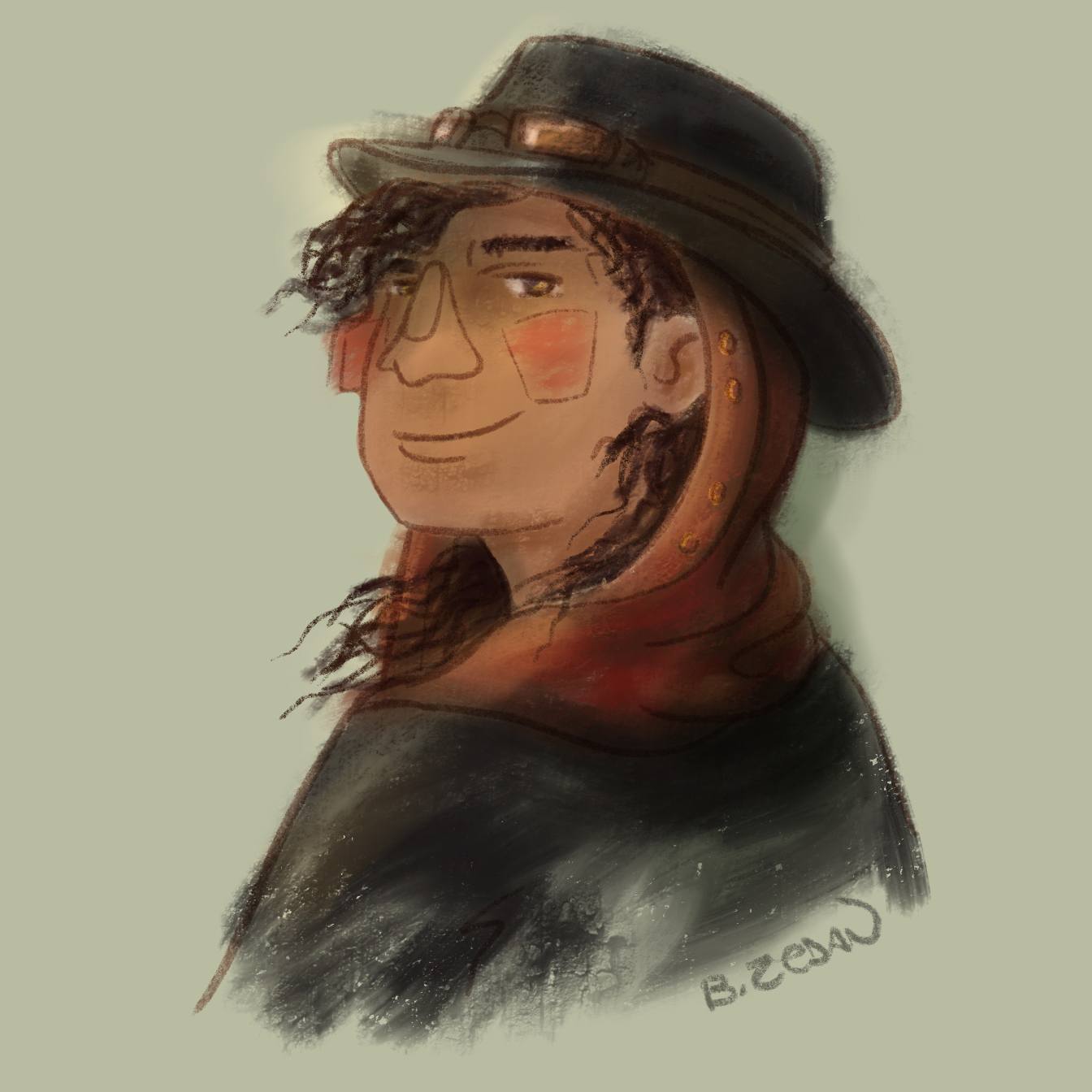 A quick looking digital sketch of the character described above, looking over her shoulder. She has light brown skin and dark brown curly hair that is mostly covered by a red hood and black brimmed cap with goggles on it.