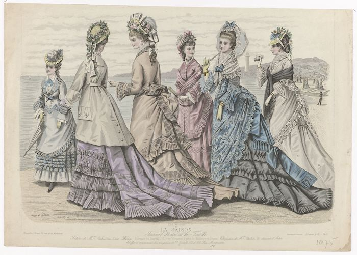 colour illustration of six women on a walk wearing late 19th century dresses