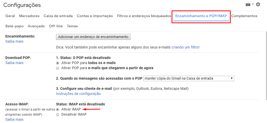 Ativar Imap para configurar gmail no outlook