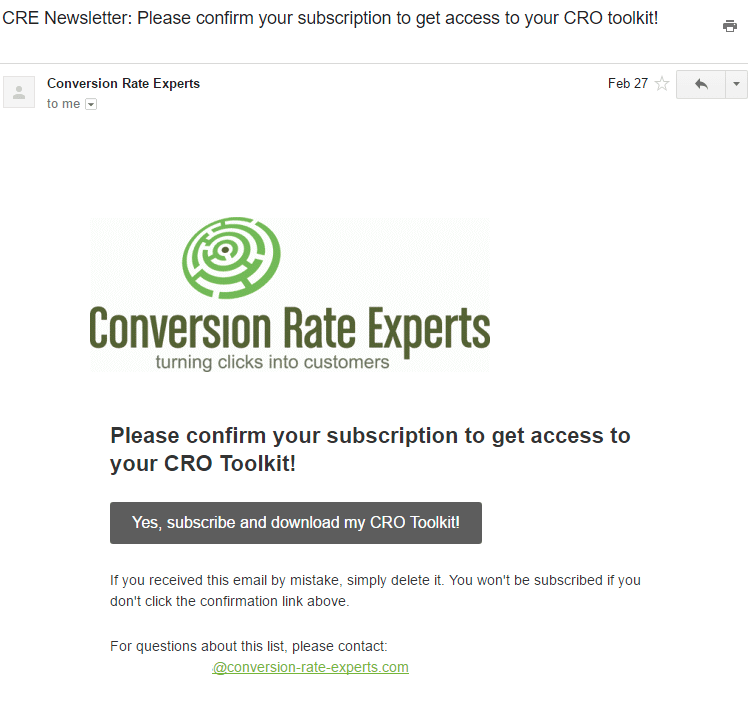 Conversion Rate Expert first automated email Please confirm your subscription and get access