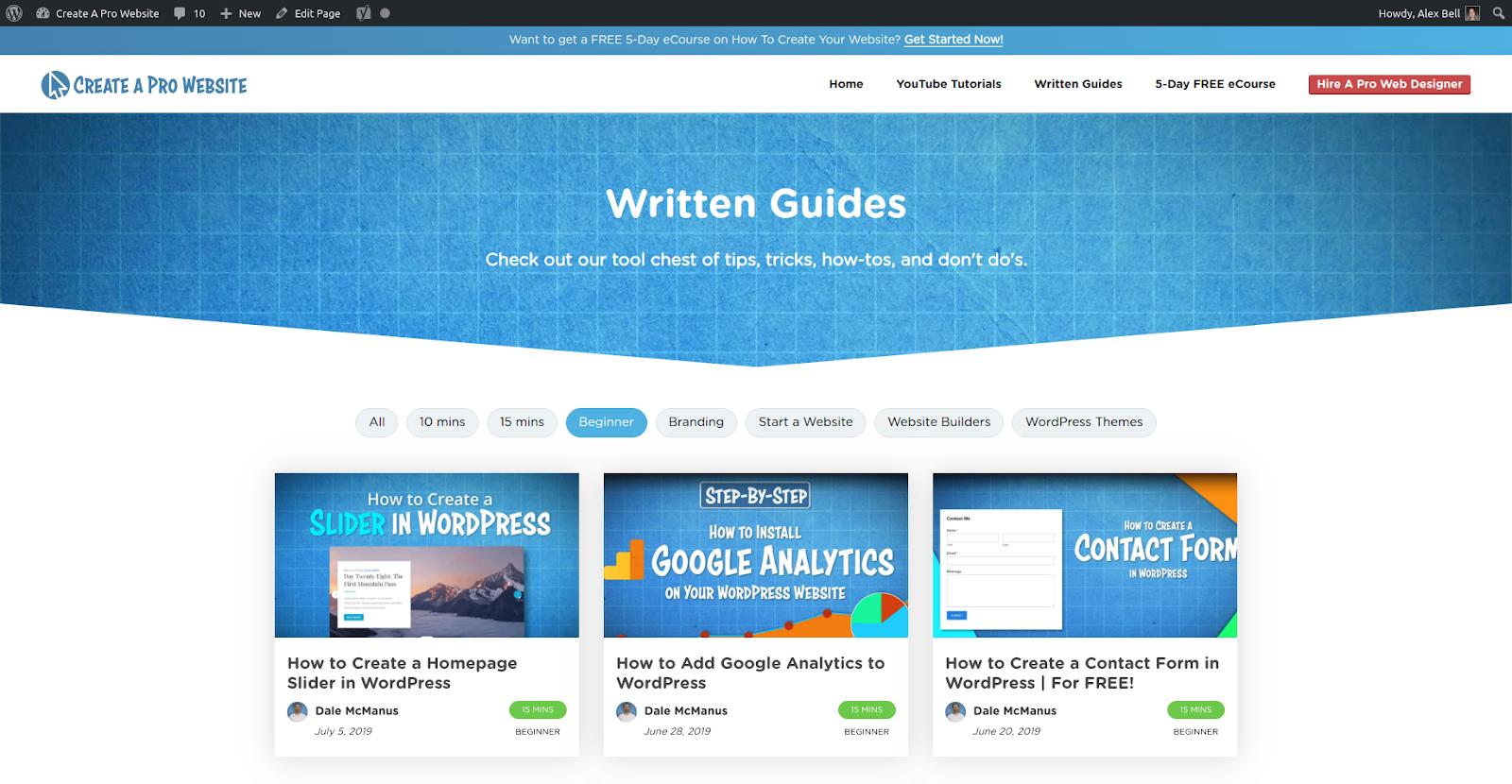 how to design a website blog example