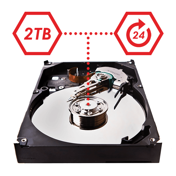 2TB security-grade hard drive
