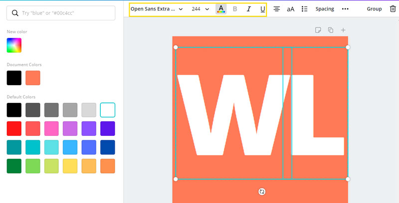 Letters in Canva