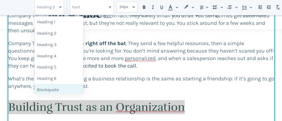 HubSpot screenshot with header tags