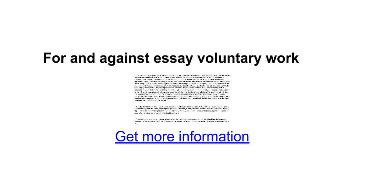 for and against essay voluntary work google docs