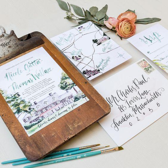 Custom Wedding venue watercolor painting, green and blush wedding invitation suite, custom watercolor wedding map, pennsylvania wedding, Wouldn't it be Lovely: