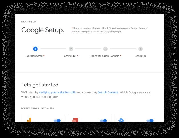 Google Site Kit for WordPress Setup Dasboard