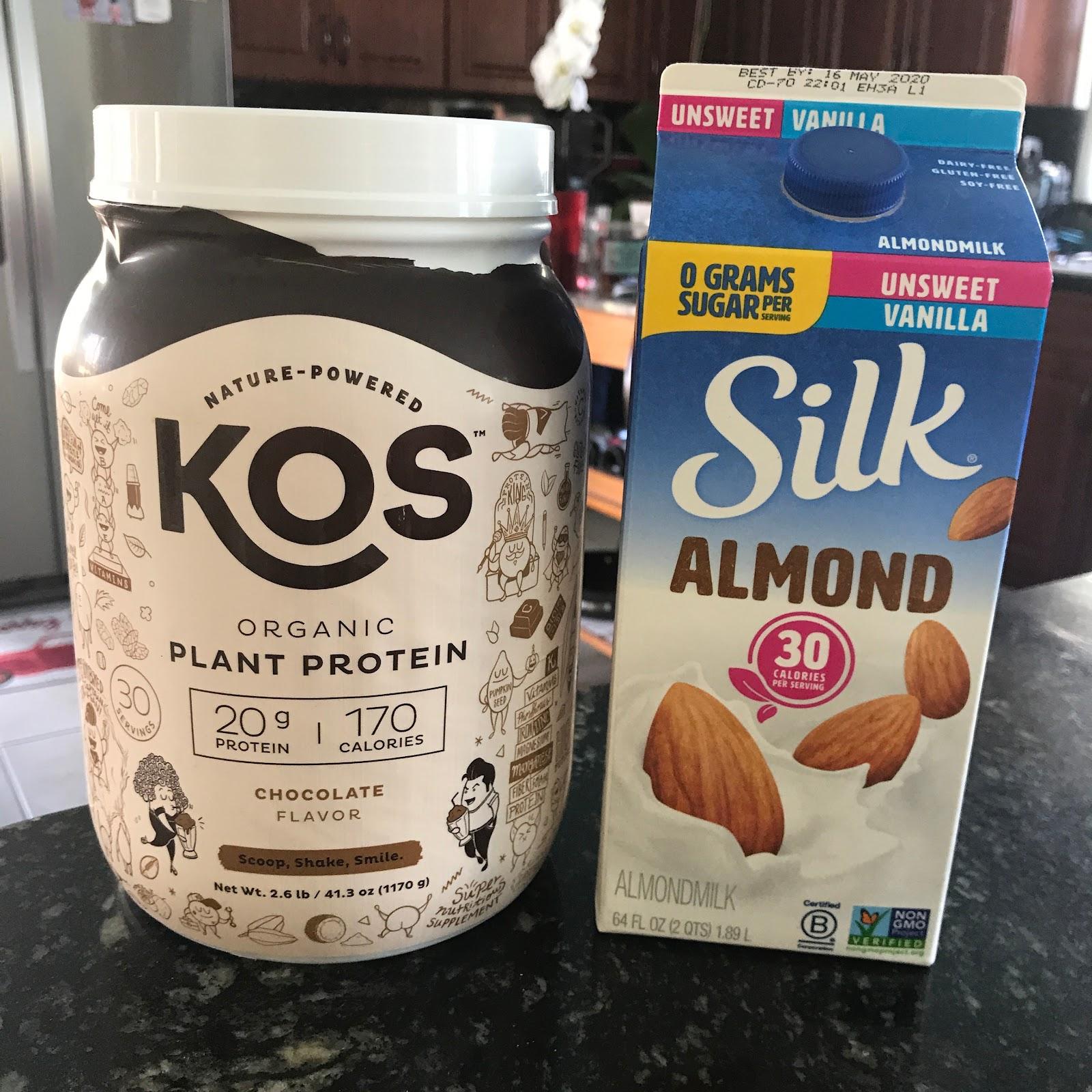 KOS plant protein powder with almond milk.
