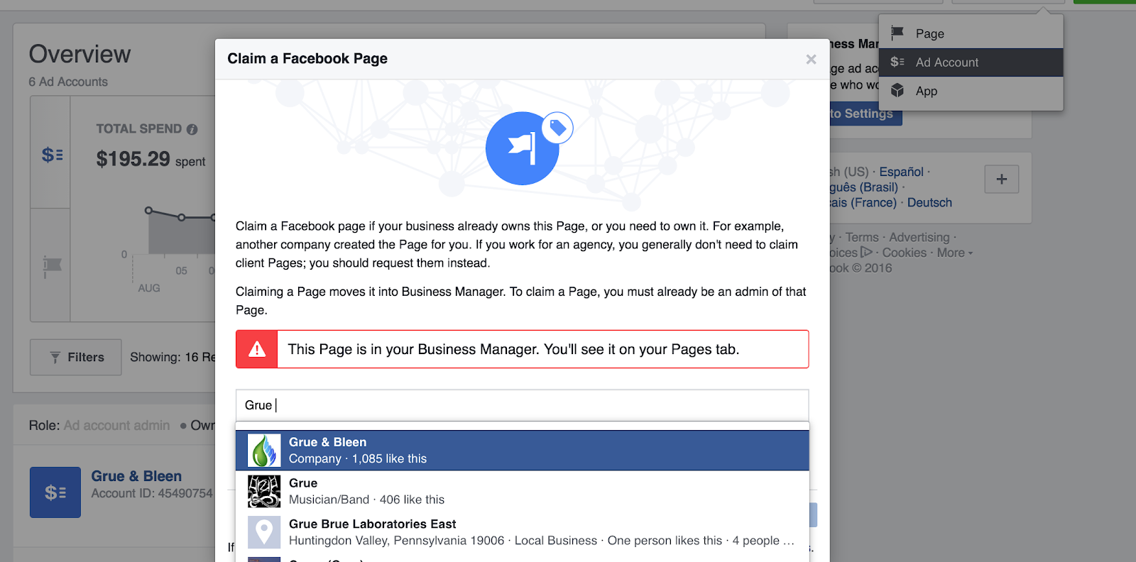 Claim a page in Facebook Business Manager