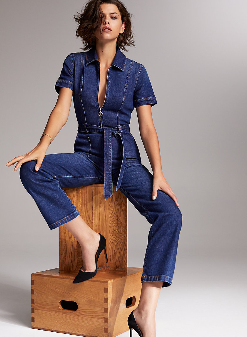 THE JERRY ZIP FRONT JUMPSUIT - Denim jumpsuit