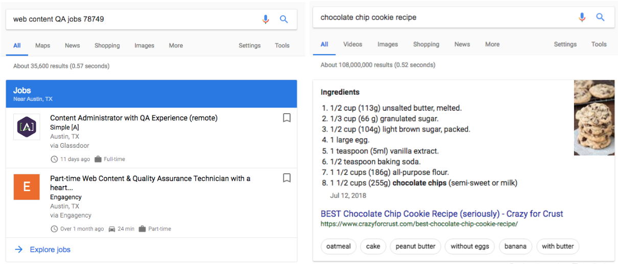 example of Google rich results based on Jobs schema and Recipe schema