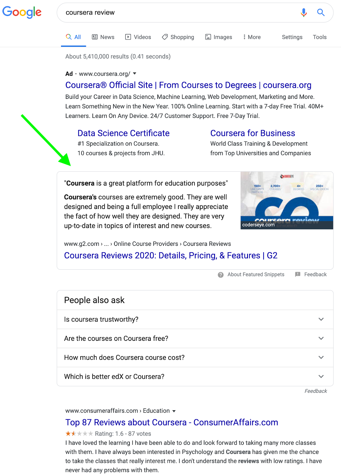 "Google desktop search results for ""coursera review"""