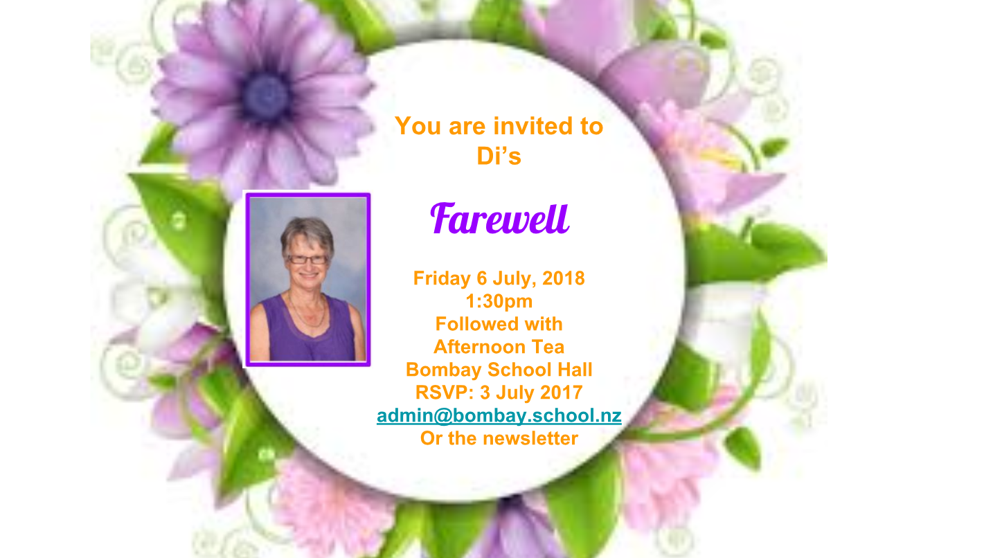 Speeches and presentations for Mrs Rolfe will take place at approximately 2:20pm onward, followed by a mix and mingle afternoon tea.  All Welcome    When: 6 July. School Hall