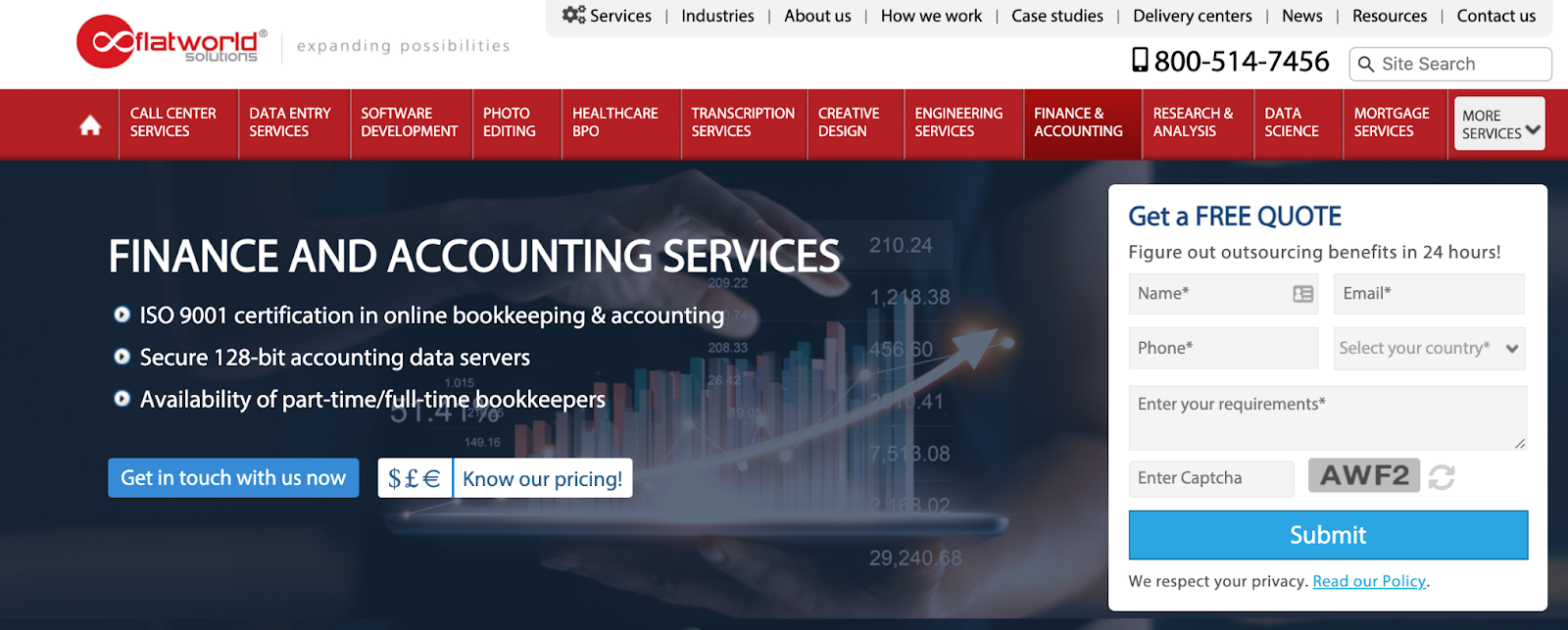 Flatworld Solutions website – payroll outsourcing company in India