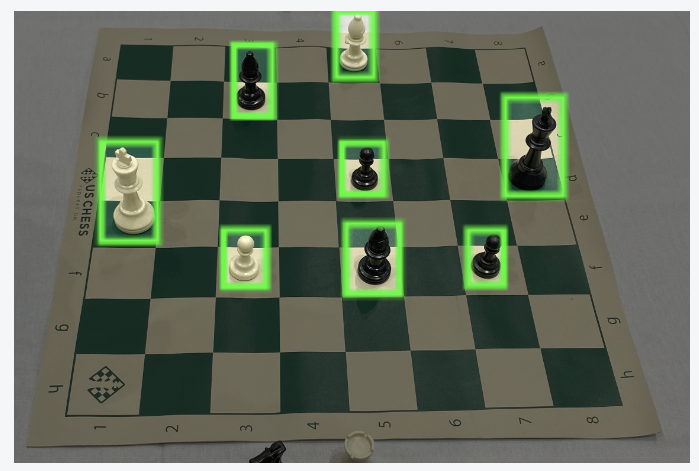 Image of a chess board annotated for object detection.