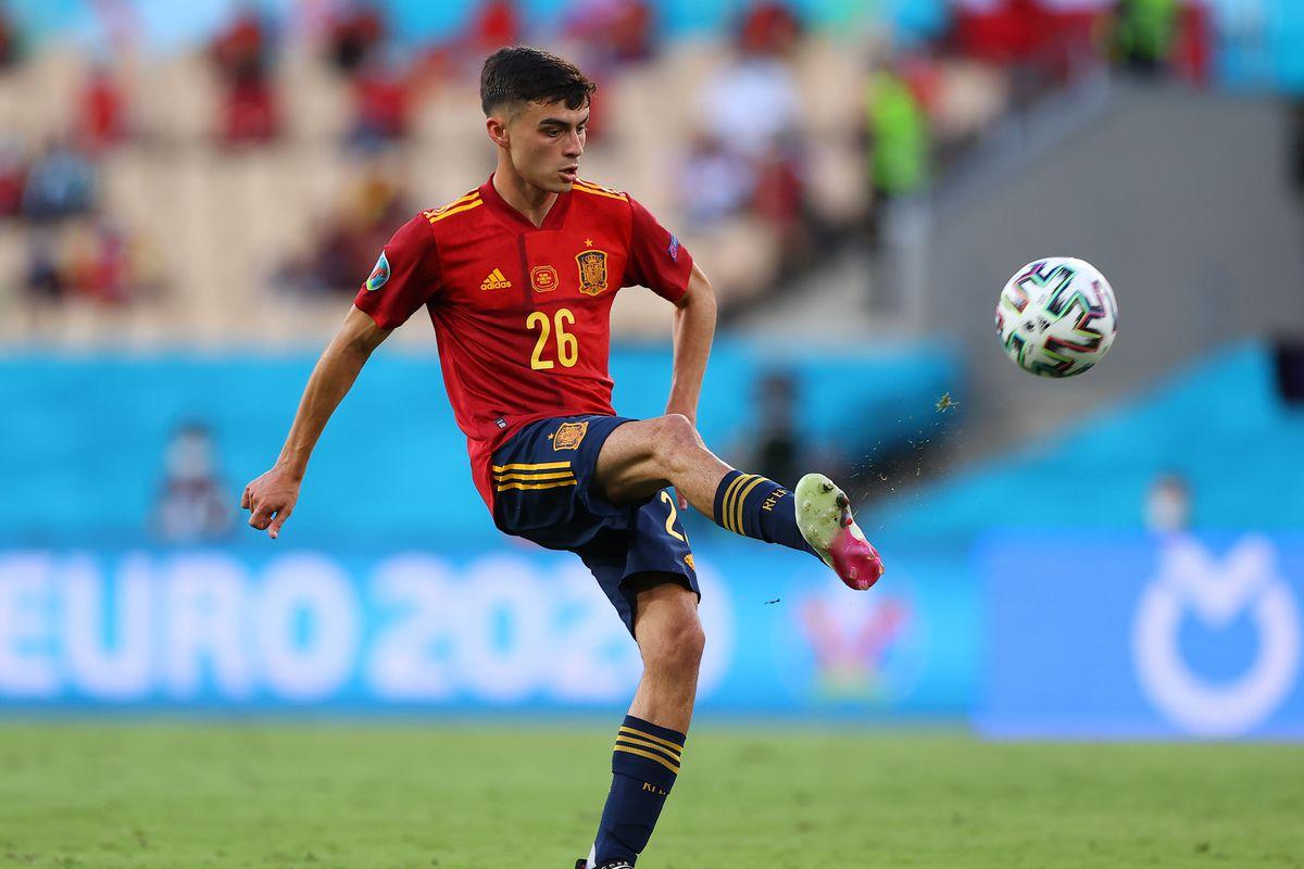Pedri representing Spain in Euro 2020