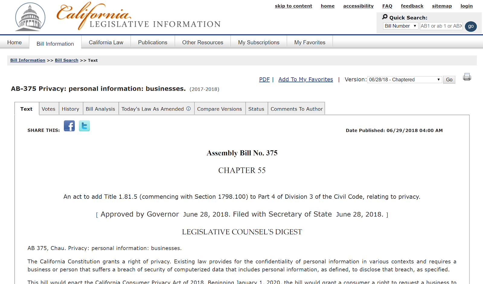screengrab of the official CCPA bill on the California Legislative Information website