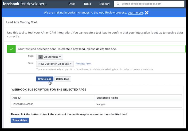 Testing Lead Capture Form in Facebook cursor on Create lead