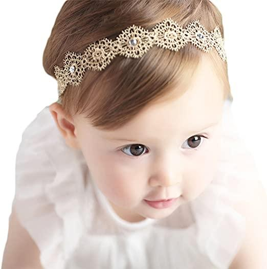 Baby Girl Super Elastic Headband,Cotton Lace Toddler Hair Band,Infant Soft Turban Hair Accessories Set