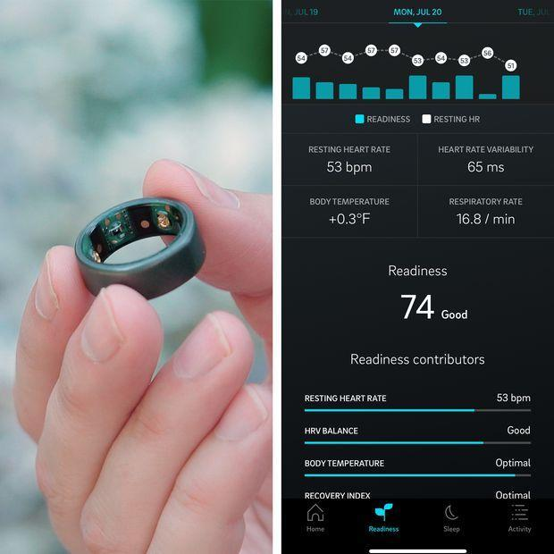 The Oura ring measures skin temperature and the app calculates a baseline, then reports how...