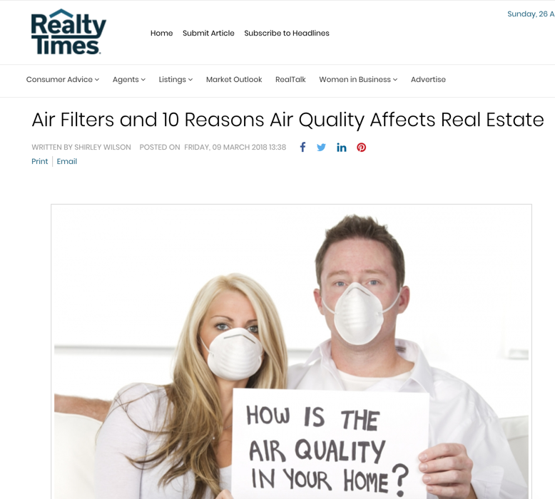 Realtytimes.com - Air Filters and 10 Reasons Air Quality Affects Real Estate