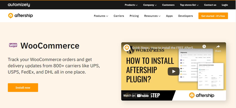 aftership woocommerce plugin screenshot