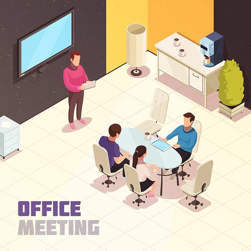 ilustração de um escritório de gerenciamento de projetos