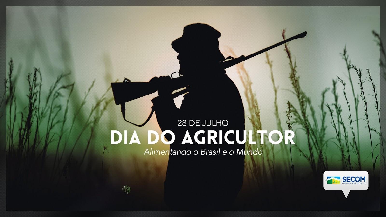 Tweet feito pela Secom em homenagem ao Dia do Agricultor tem foto de homem armado (Foto: Twitter/Reprodução)