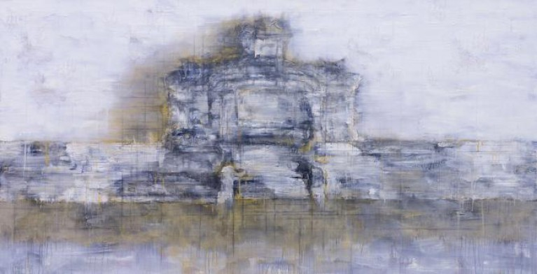 Ha Manh Thang's artworks: Hue Citadel Landscape, no. 9 (2014), acrylic, acrylic medium, oil and charcoal on canvas, 100 x 195 cm.