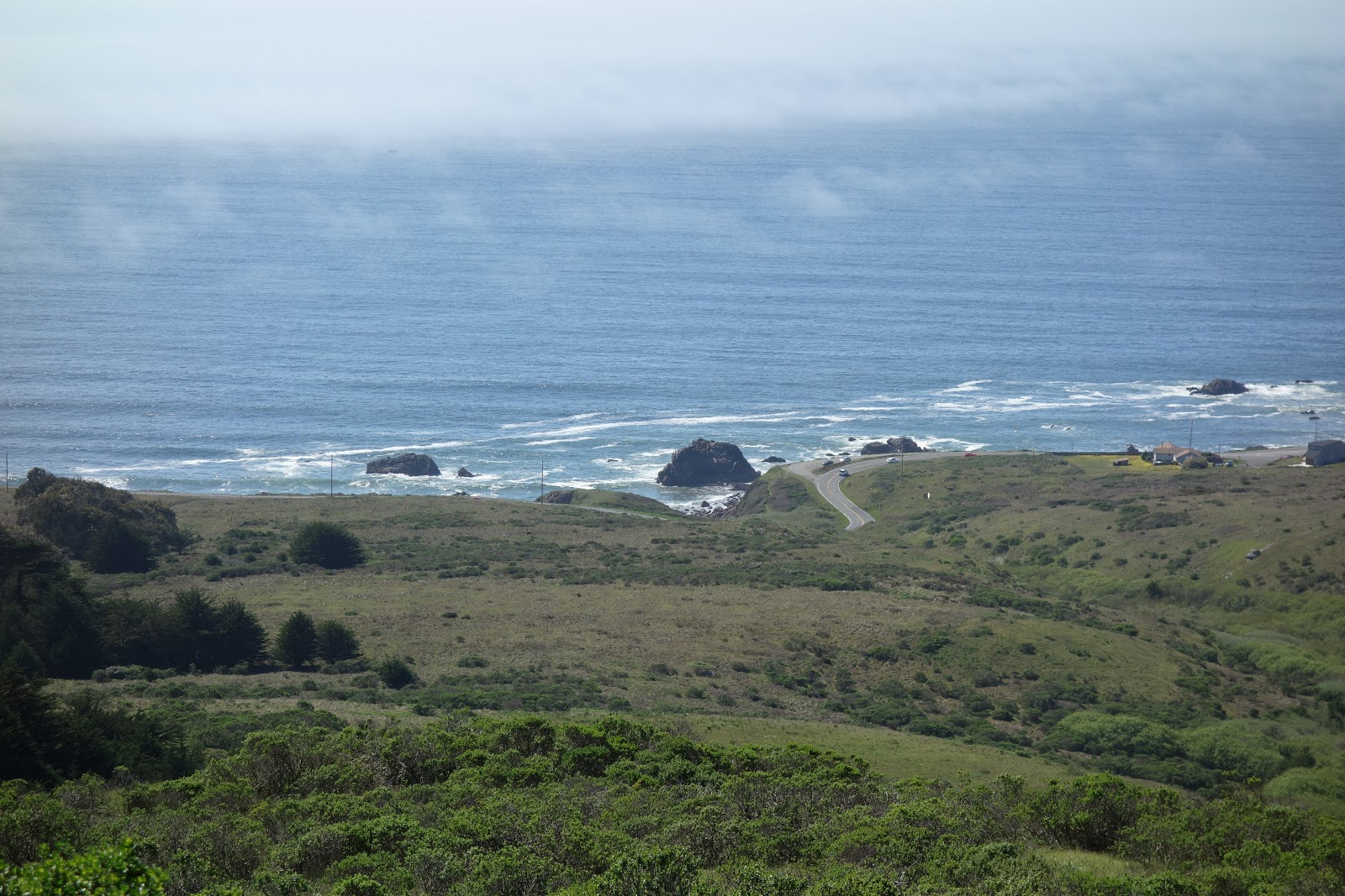View while bicycling up Coleman Valley Road of Pacific Ocean and Hwy 1.