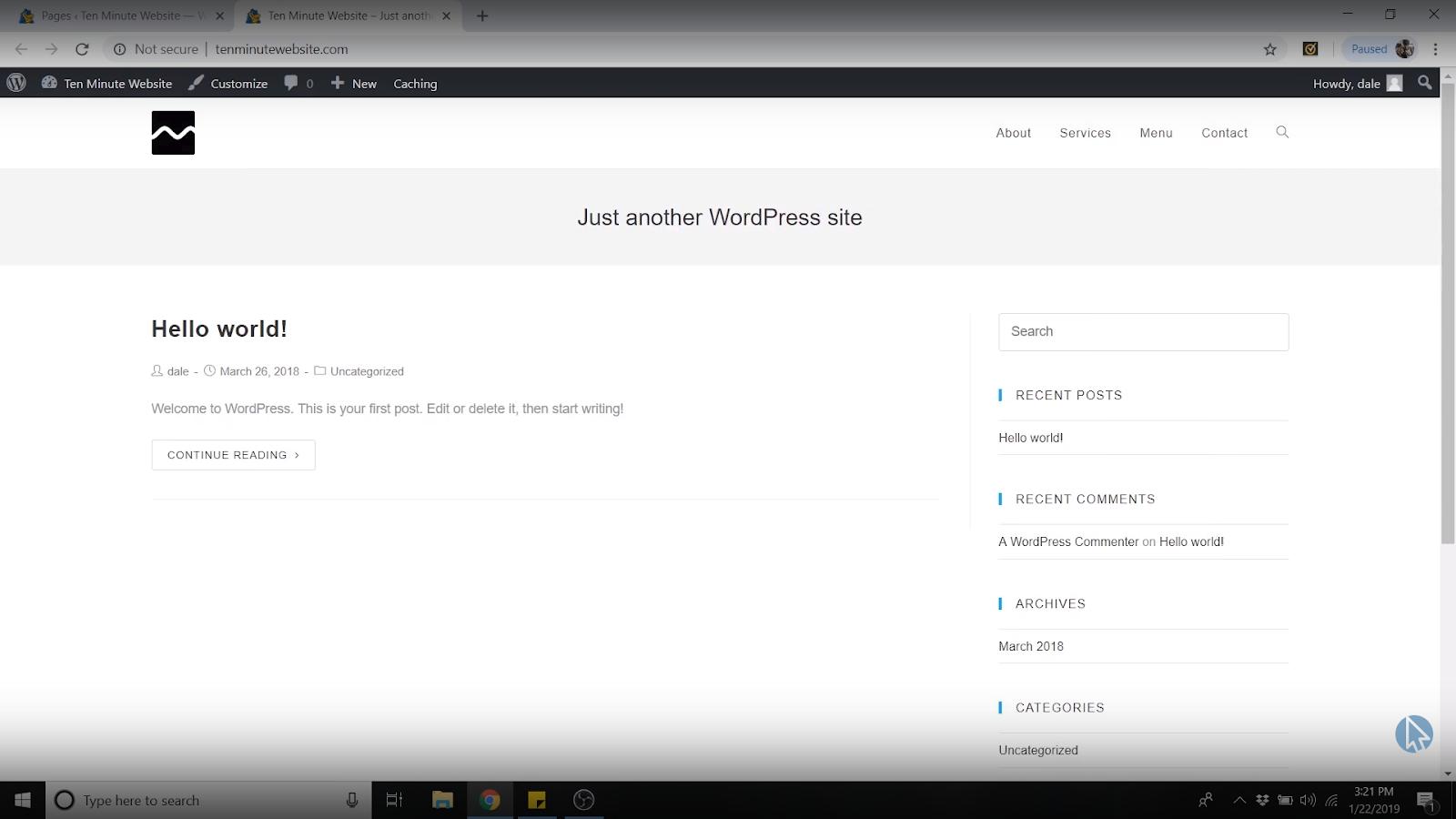 wordpress backup homepage deleted
