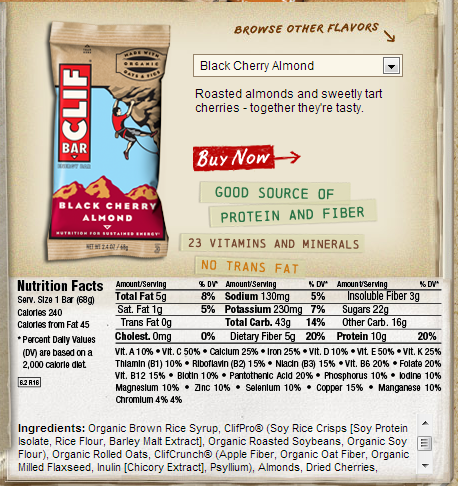 Calories in a cliff bar
