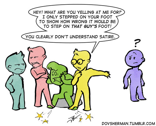 Panel 3 of 3 part comic to illustrate intent versus impact. After one man accidentally steps on someones foot, other groups begin to inflict damage and claim satire. Illustration by DovSherman.