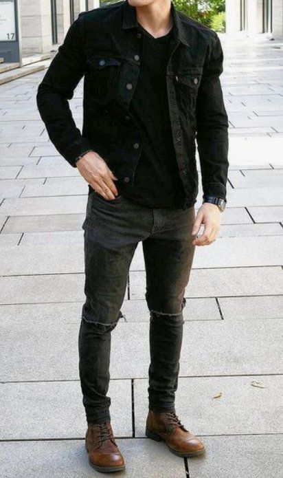 man wearing an all-black outfit