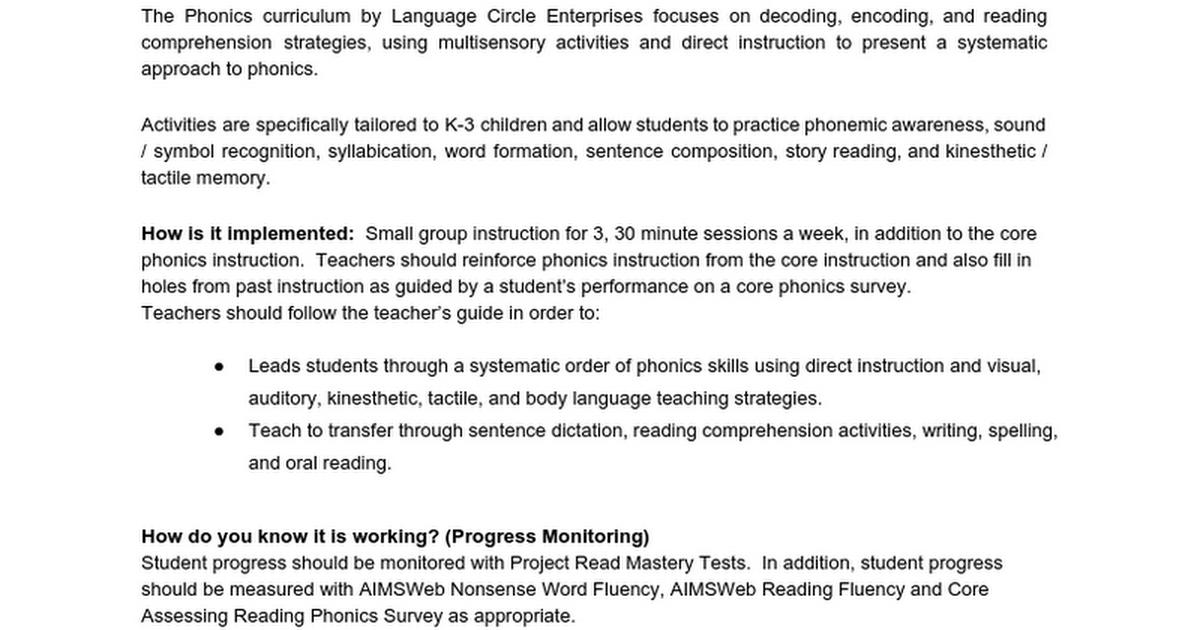 Project Read Phonics Google Docs