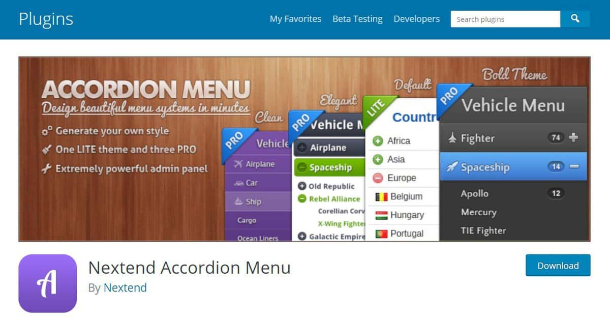 Página de download do Nextend Accordion Menu para WordPress