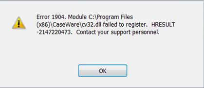 QuickBooks error 1904 message code
