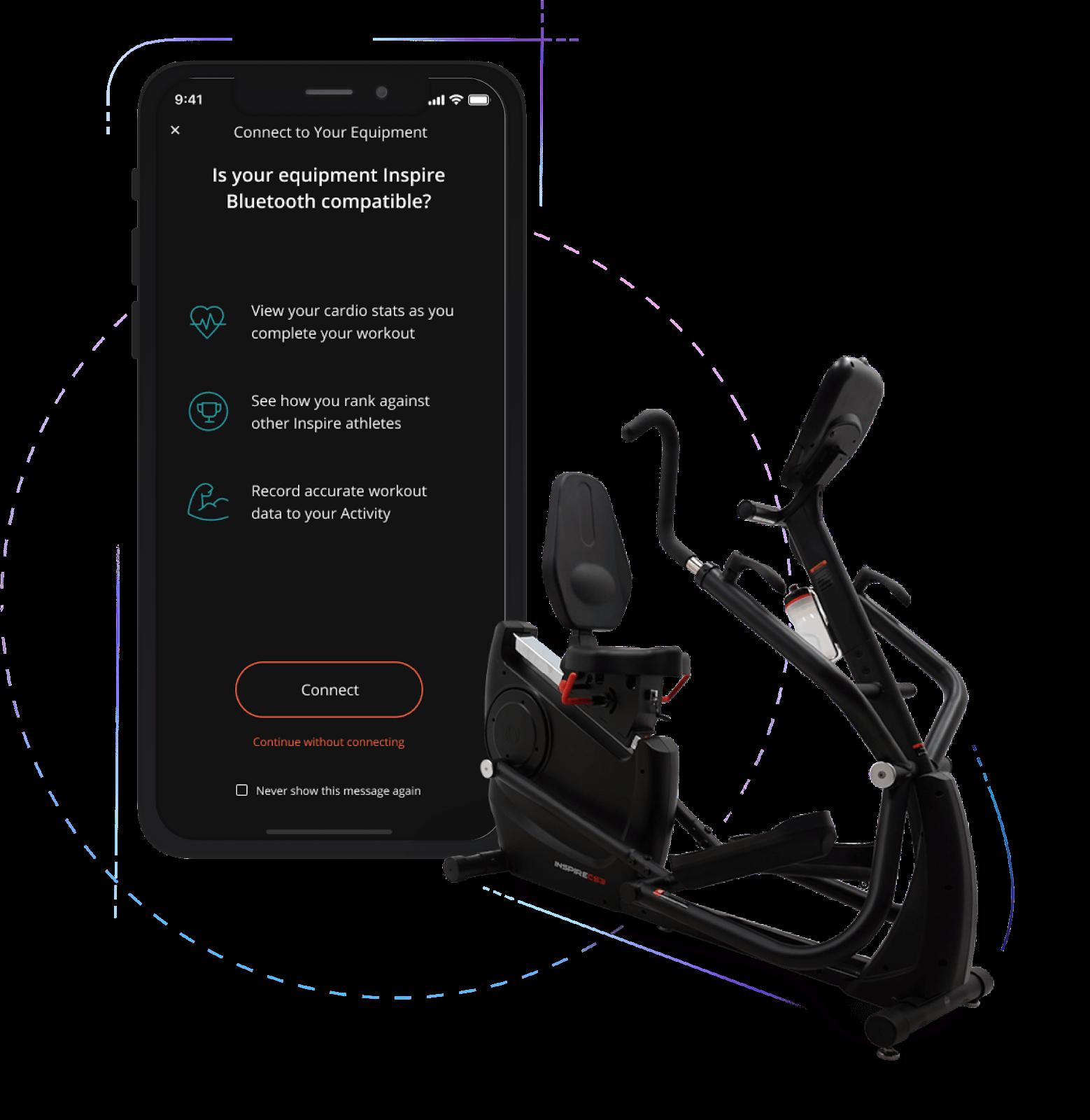 App screenshot next to exercise bike