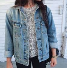Image result for jean jacket with knitted sweater underneath