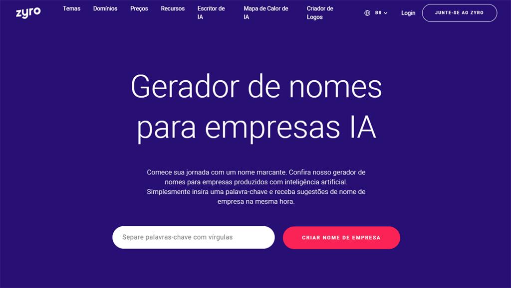site oficial do gerador de nomes para impresas de ia do zyro