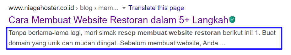 Contoh Penerapan Tag HTML Meta Description